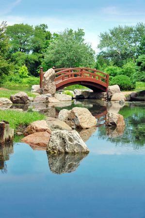 japanese bridge: Japanese bridge, Osaka Garden located in Jackson Park, Chicago Stock Photo