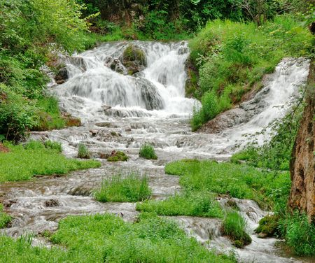 lower section: Lower section of Roughlock waterfall in Spearfish Canyon situated in the Black Hills of South Dakota.