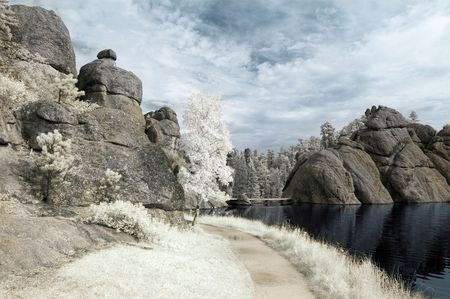Trail by Sylvan Lake in the Black Hills of South Dakota. Infrared photo