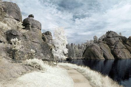 sylvan: Trail by Sylvan Lake in the Black Hills of South Dakota. Infrared Stock Photo
