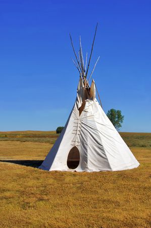 plains indian: Native American Teepee on the plains of South Dakota.