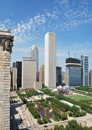 city park skyline: Millennium Park in Chicago from above looking down Michigan Avenue. Stock Photo
