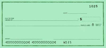 blank check: Blank check with false numbers in a green tone.