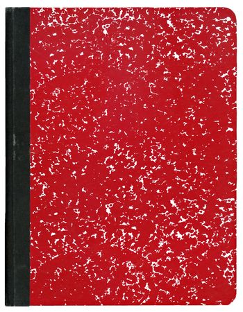 Red composition notebook isolated on white.