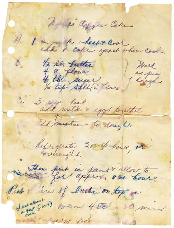 Old stained and torn  recipe. Handwritten.