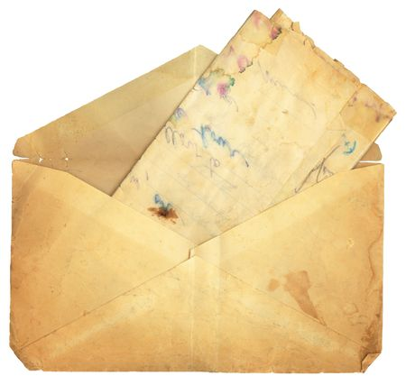 old envelope: Stained vintage letter and envelope. Room for your own text.