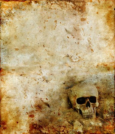 Skull in the corner on a grunge background. Copy-space for your own text.