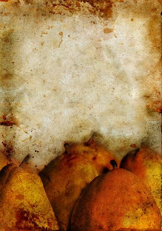 Pears on a stained grunge canvas background. Copy-space for your own text. Imagens