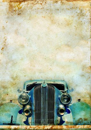 Blue antique car on a grunge background with copy-space for text.