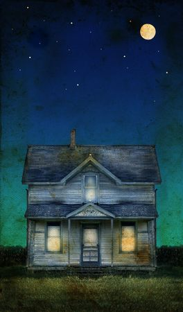broken house: Old farmhouse with a full moon on a grunge background. Copy-space for text.