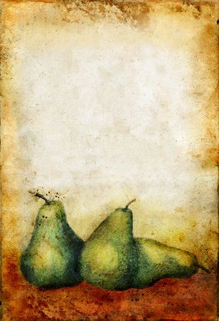 Etched and handpainted pears on a grunge background with copy-space for your own text. Original etching and painting designed and executed by me. Stock Photo