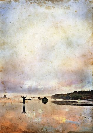 Man with his arms raised up in praise on a beautiful beach at sunrise. Grunge texture with copy-space for your text.