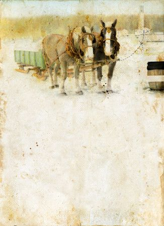 Horse drawn sleigh on a grunge background. Plenty of copy-space for your text. photo