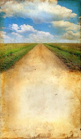 dirt: Country Road on Grunge Background with lots of copy-space for your text. Stock Photo