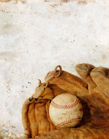 grunge backgrounds: Baseball and leather glove on a grunge background. Copy-space for your text. Stock Photo