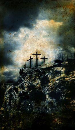 Three Crosses on Golgotha in Israel with a grunge background.  Stock Photo