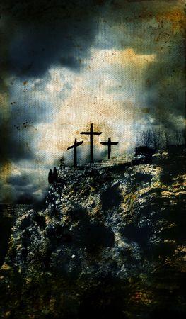 crucified: Tres Cruces en el G�lgota en Israel con un grunge de fondo.