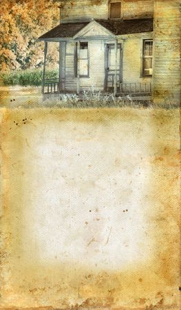 abandoned farmhouse abandoned farmhouse: Abandoned farmhouse porch on a grunge background. Copy-space for your text. Stock Photo