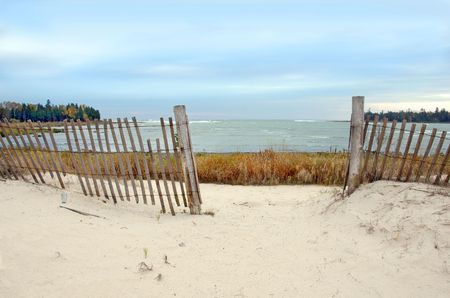 Fence on a beach in Door County, Wisconsin. Lake Michigan Stock Photo