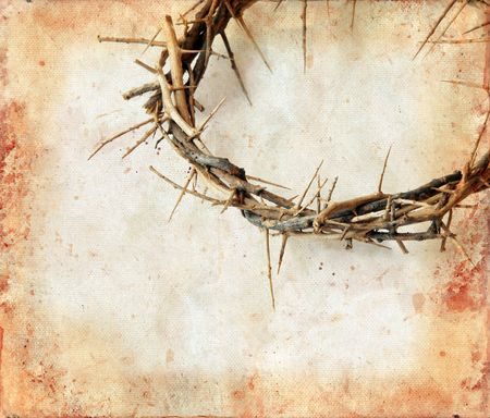 thorn: Crown of thorns on a grunge background. Copy-space for your text. Stock Photo