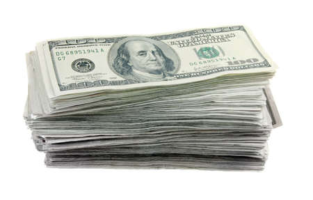 Tall stack of 100 dollar bills on a white background. US currency. Stock Photo - 3871040