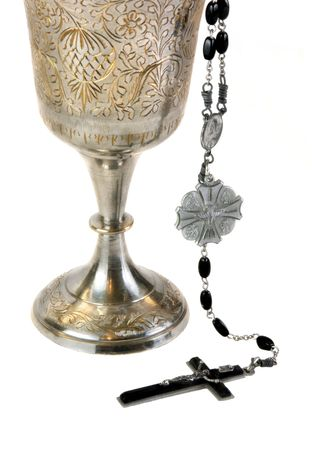 Ornate chalice for communion and a rosary. Stok Fotoğraf