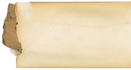 old envelope: Vintage envelope that has been torn open on the side.