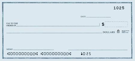 青色のトーンで偽の番号を持つ空白のチェック。
