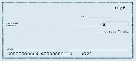 blank check: Blank check with false numbers in a blue tone.