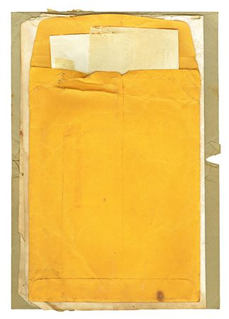old envelope: Old stained, used, manila envelope and papers for a background. Stock Photo
