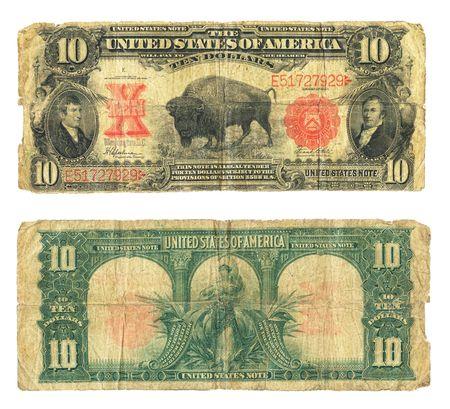 US ten dollar bill from series 1901. photo