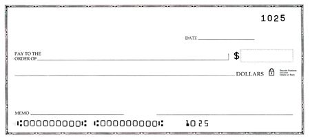 Blank white check with fake numbers.