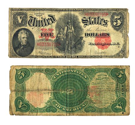 dated: Vintage five dollar bill dated 1907 in US currency