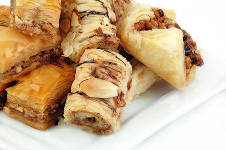 baklava: Baklava varieties on a white background.
