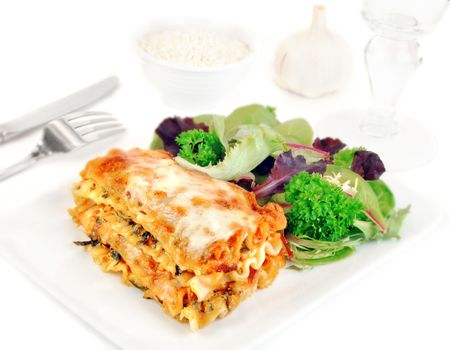 lasagna: Lasagna and salad on a white plate with romano cheese.