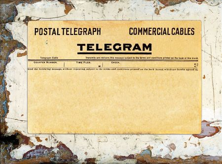 Blank telegram on grungy painted wood great for backgrounds.
