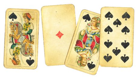 yellowing: Various assorment of old, antique playing cards