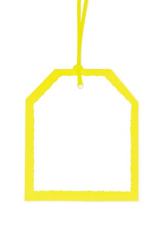 Blank gift tag in Yellow and white. Isolated a on white background. photo