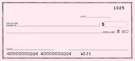 fake money: Cheque en blanco rosa con números falsos.