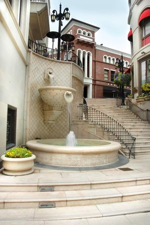 The steps of Via Rodeo in Beverly Hills, California.