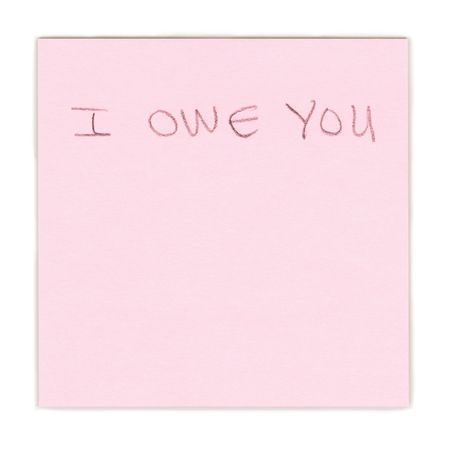 I owe you note on pink paper