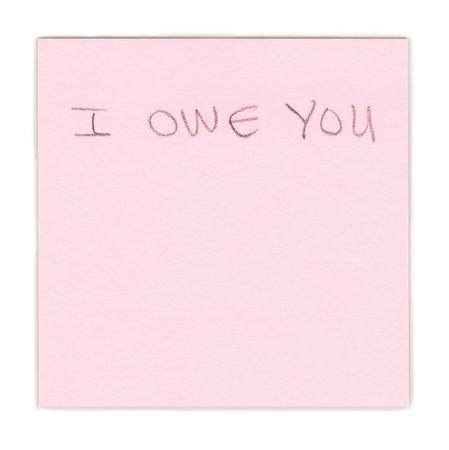 I owe you note on pink paper Banco de Imagens - 4537064