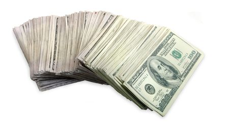 fanned: Stack of money fanned out against a white background.