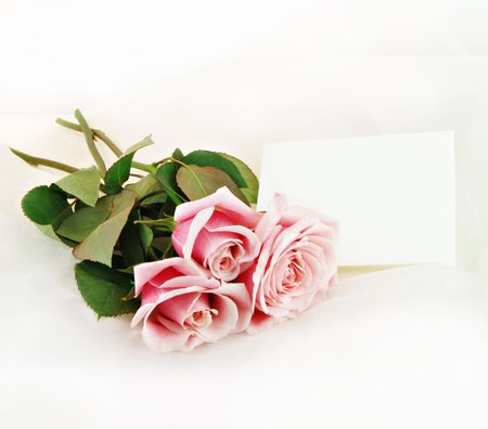 Pink roses with a note blank for your message.