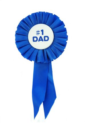 Blue Ribbon on white for a number one Dad. Stock Photo