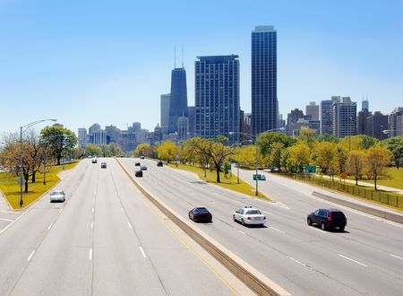 lake shore drive: View of Chicago skyscrapers from Lake Shore Drive Stock Photo