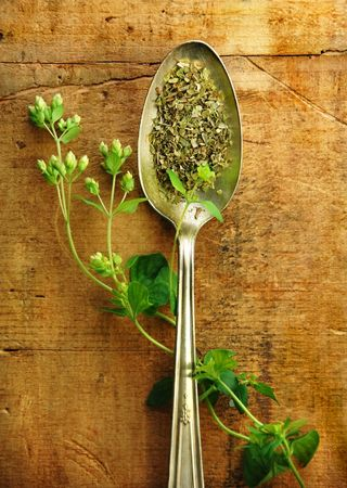 sprig: Oregano sprig with dried in a silver spoon on a rustic wood table. Stock Photo