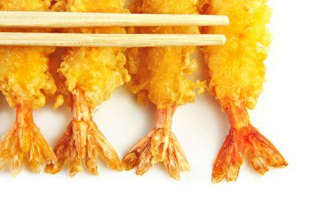 Shrimp Tempura with chopsticks on a white plate. Stock Photo - 5156686