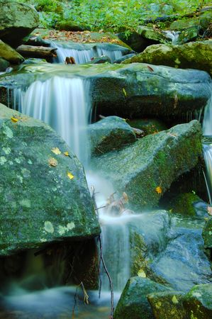 gently: Water gently falling over rocks in the Smoky Mountains.
