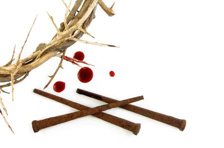 Crown of Thorns with metal spikes on white background. Stock Photo - 6203720